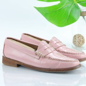 Bass Whitney Weejuns Penny Loafer Pink Patent Leather Women 7.5 Slip On Flats